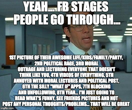 That Would Be Great Meme | YEAH... FB STAGES PEOPLE GO THROUGH... 1ST PICTURE OF THEIR AWESOME LIFE/KIDS/FAMILY/PARTY, 2ND POLITICAL RAGE, 3RD MORAL OUTRAGE AND LECTUR | image tagged in memes,that would be great | made w/ Imgflip meme maker
