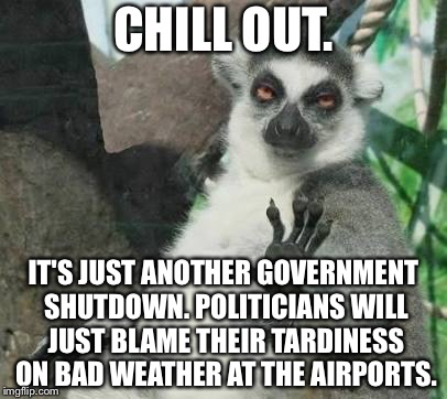 Politicians making more excuses for shutdowns | CHILL OUT. IT'S JUST ANOTHER GOVERNMENT SHUTDOWN. POLITICIANS WILL JUST BLAME THEIR TARDINESS ON BAD WEATHER AT THE AIRPORTS. | image tagged in chill out lemur,memes,government shutdown,weather,politicians suck,corruption | made w/ Imgflip meme maker