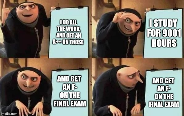 Gru's Plan | I DO ALL THE WORK, AND GET AN A++ ON THOSE I STUDY FOR 9001 HOURS AND GET AN F- ON THE FINAL EXAM AND GET AN F- ON THE FINAL EXAM | image tagged in gru's plan | made w/ Imgflip meme maker