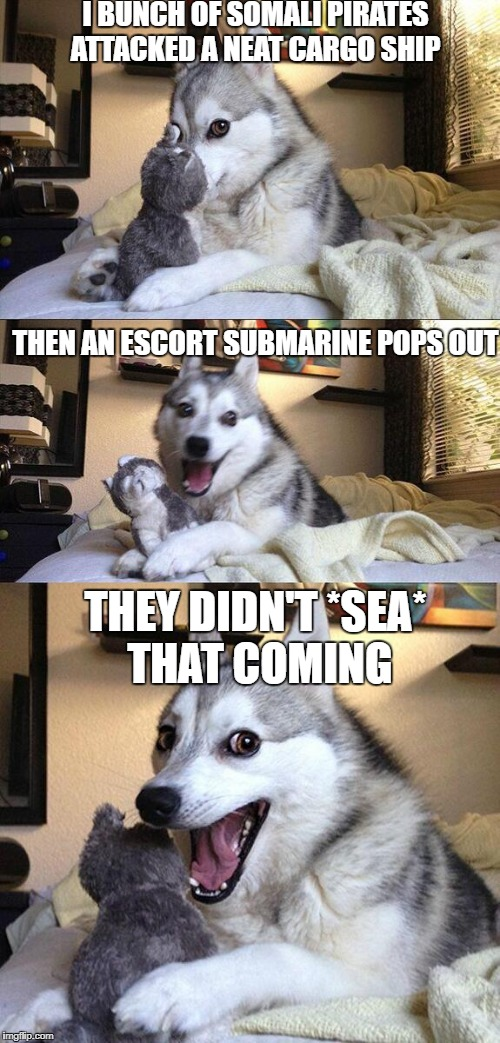Bad Pun Dog Meme | I BUNCH OF SOMALI PIRATES ATTACKED A NEAT CARGO SHIP THEN AN ESCORT SUBMARINE POPS OUT THEY DIDN'T *SEA* THAT COMING | image tagged in memes,bad pun dog | made w/ Imgflip meme maker