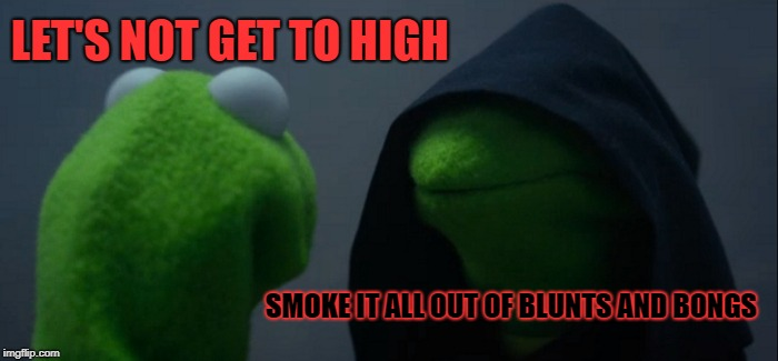 Evil Kermit Meme | LET'S NOT GET TO HIGH SMOKE IT ALL OUT OF BLUNTS AND BONGS | image tagged in memes,evil kermit | made w/ Imgflip meme maker