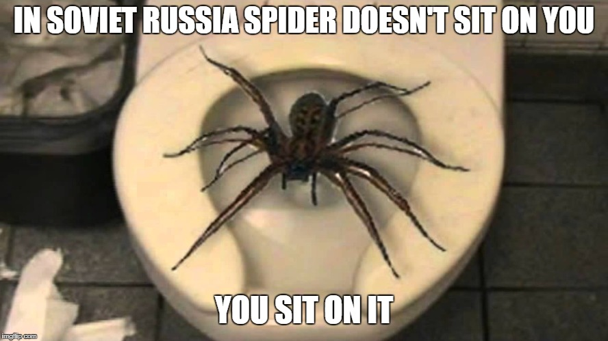 IN SOVIET RUSSIA SPIDER DOESN'T SIT ON YOU YOU SIT ON IT | made w/ Imgflip meme maker
