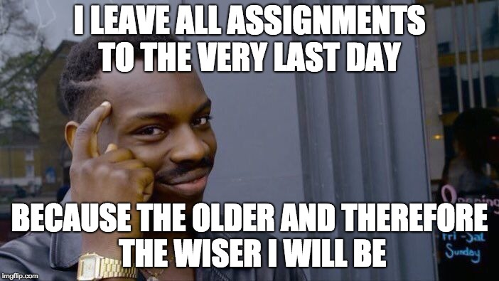 Roll Safe Think About It Meme | I LEAVE ALL ASSIGNMENTS TO THE VERY LAST DAY BECAUSE THE OLDER AND THEREFORE THE WISER I WILL BE | image tagged in memes,roll safe think about it | made w/ Imgflip meme maker