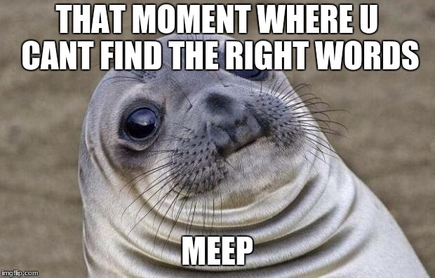 Awkward Moment Sealion Meme | THAT MOMENT WHERE U CANT FIND THE RIGHT WORDS MEEP | image tagged in memes,awkward moment sealion | made w/ Imgflip meme maker