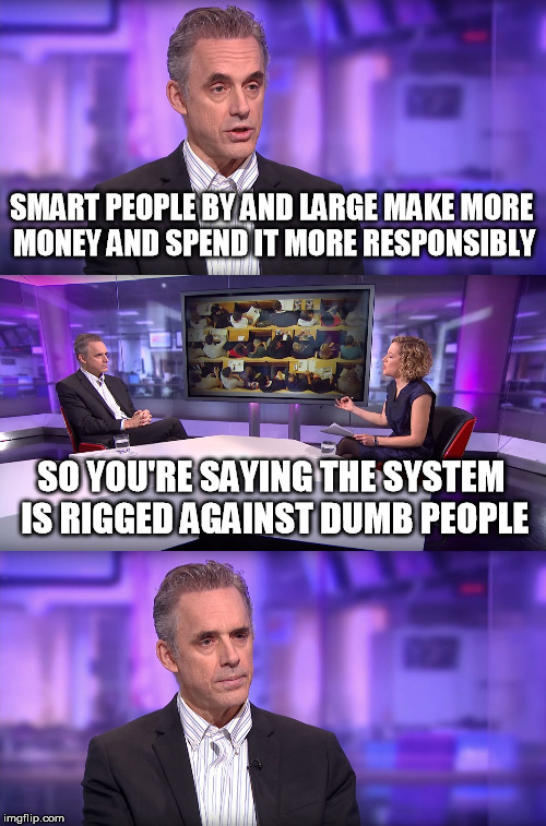 The reality is quite opposite... | SMART PEOPLE BY AND LARGE MAKE MORE MONEY AND SPEND IT MORE RESPONSIBLY SO YOU'RE SAYING THE SYSTEM IS RIGGED AGAINST DUMB PEOPLE | image tagged in jordan peterson vs feminist interviewer | made w/ Imgflip meme maker