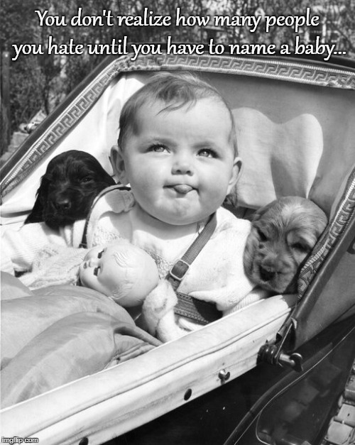 Name a baby... | You don't realize how many people you hate until you have to name a baby... | image tagged in people,hate,how many,name,baby | made w/ Imgflip meme maker