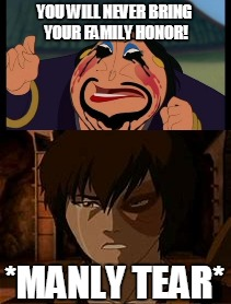 Family Honor  |  YOU WILL NEVER BRING YOUR FAMILY HONOR! *MANLY TEAR* | image tagged in funny,memes,avatar the last airbender,zuko,mulan,honor | made w/ Imgflip meme maker