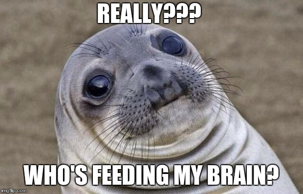 Awkward Moment Sealion Meme | REALLY??? WHO'S FEEDING MY BRAIN? | image tagged in memes,awkward moment sealion | made w/ Imgflip meme maker