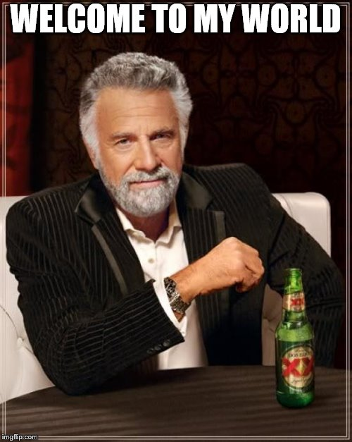 The Most Interesting Man In The World Meme | WELCOME TO MY WORLD | image tagged in memes,the most interesting man in the world | made w/ Imgflip meme maker