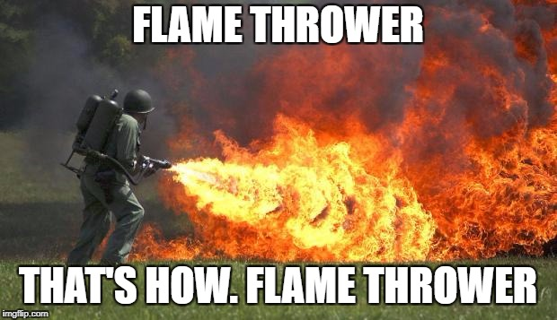 FLAME THROWER THAT'S HOW. FLAME THROWER | image tagged in flame thrower | made w/ Imgflip meme maker