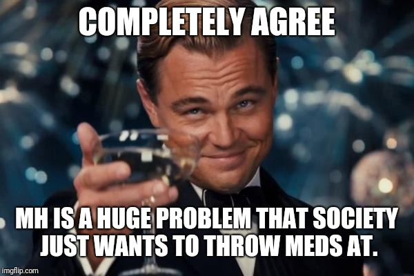 Leonardo Dicaprio Cheers Meme | COMPLETELY AGREE MH IS A HUGE PROBLEM THAT SOCIETY JUST WANTS TO THROW MEDS AT. | image tagged in memes,leonardo dicaprio cheers | made w/ Imgflip meme maker