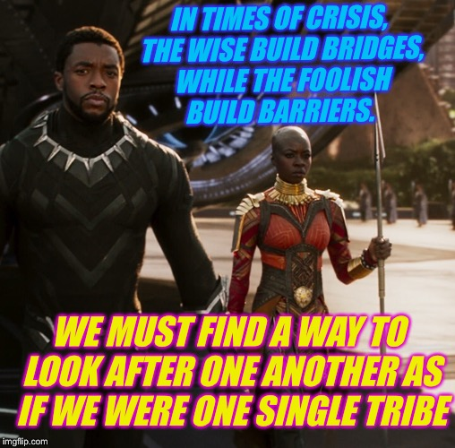 IN TIMES OF CRISIS, THE WISE BUILD BRIDGES, WHILE THE FOOLISH BUILD BARRIERS. WE MUST FIND A WAY TO LOOK AFTER ONE ANOTHER AS IF WE WERE ONE | made w/ Imgflip meme maker