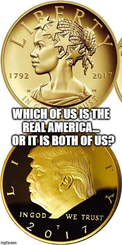 Which is the Real America? | WHICH OF US IS THE REAL AMERICA...  OR IT IS BOTH OF US? | image tagged in donald trump,trump,liberty,coin,coins,black woman | made w/ Imgflip meme maker