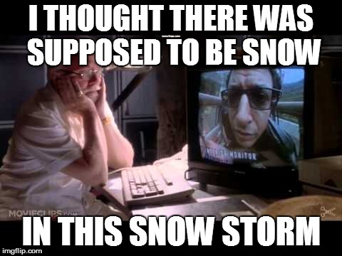 When a Big Snow Storm is Predicted and Nothing Arrives | I THOUGHT THERE WAS SUPPOSED TO BE SNOW IN THIS SNOW STORM | image tagged in dr ian malcom | made w/ Imgflip meme maker
