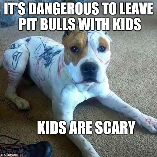 Pup gets a paint job | IT'S DANGEROUS TO LEAVE PIT BULLS WITH KIDS KIDS ARE SCARY | image tagged in memes,pitbulls,kids,imgflip,funny memes | made w/ Imgflip meme maker