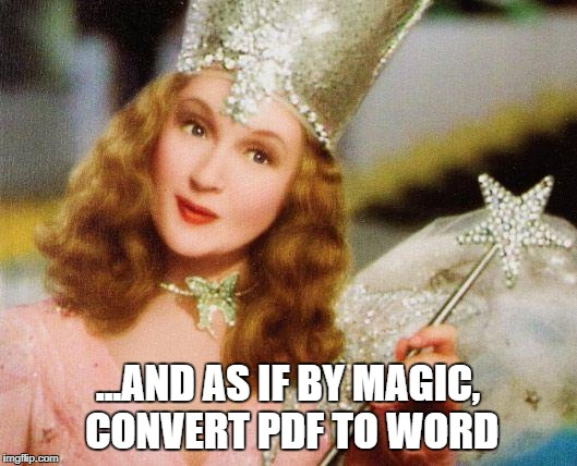 magic | ...AND AS IF BY MAGIC, CONVERT PDF TO WORD | image tagged in magic | made w/ Imgflip meme maker