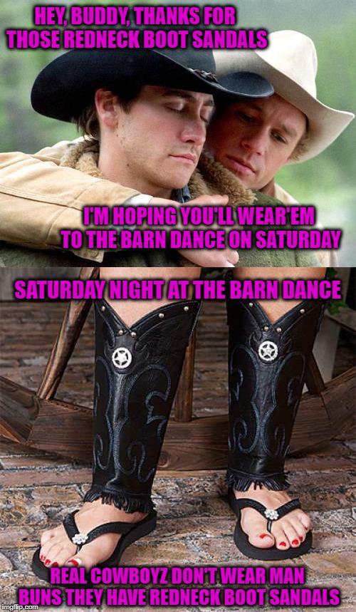 2018 The Fashion Battle Begins Redneck Boot Sandals Vs Man Buns