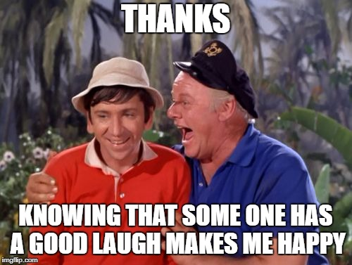 gilligan | THANKS KNOWING THAT SOME ONE HAS A GOOD LAUGH MAKES ME HAPPY | image tagged in gilligan | made w/ Imgflip meme maker