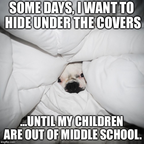 DOG HIDING UNDER THE COVERS | SOME DAYS, I WANT TO HIDE UNDER THE COVERS ...UNTIL MY CHILDREN ARE OUT OF MIDDLE SCHOOL. | image tagged in dog hiding under the covers | made w/ Imgflip meme maker