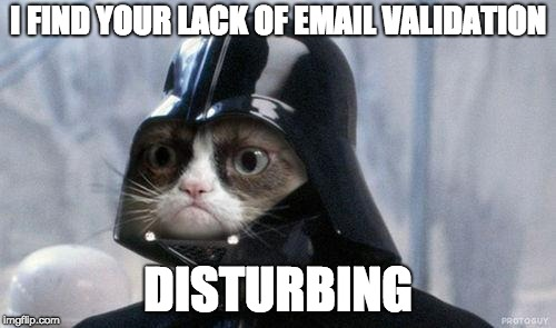 Grumpy Cat Star Wars | I FIND YOUR LACK OF EMAIL VALIDATION DISTURBING | image tagged in memes,grumpy cat star wars,grumpy cat | made w/ Imgflip meme maker
