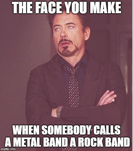 Face You Make Robert Downey Jr  | THE FACE YOU MAKE WHEN SOMEBODY CALLS A METAL BAND A ROCK BAND | image tagged in memes,face you make robert downey jr,doctordoomsday180,rock band,metal band,heavy metal | made w/ Imgflip meme maker