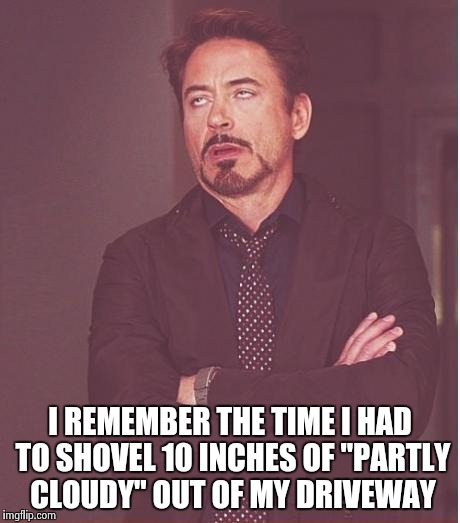 "Face You Make Robert Downey Jr Meme | I REMEMBER THE TIME I HAD TO SHOVEL 10 INCHES OF ""PARTLY CLOUDY"" OUT OF MY DRIVEWAY 