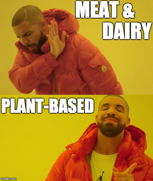 MEAT &            DAIRY PLANT-BASED | image tagged in drake | made w/ Imgflip meme maker