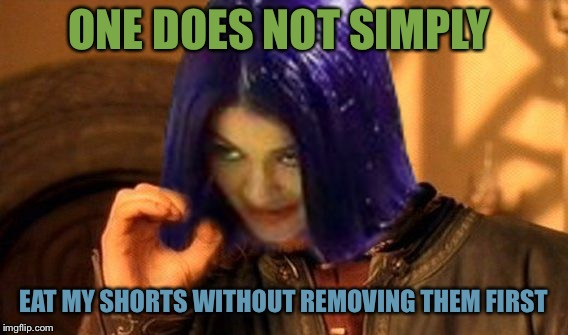 Kylie Does Not Simply | ONE DOES NOT SIMPLY EAT MY SHORTS WITHOUT REMOVING THEM FIRST | image tagged in kylie does not simply | made w/ Imgflip meme maker