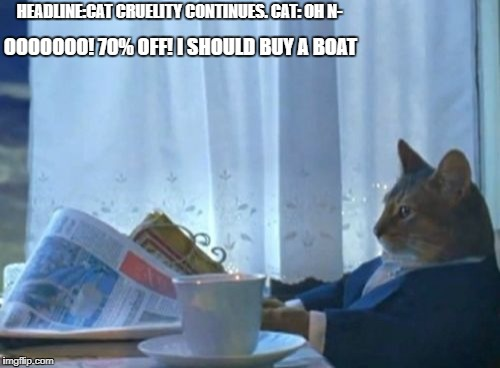 I Should Buy A Boat Cat Meme | HEADLINE:CAT CRUELITY CONTINUES. CAT: OH N- OOOOOOO! 70% OFF! I SHOULD BUY A BOAT | image tagged in memes,i should buy a boat cat | made w/ Imgflip meme maker