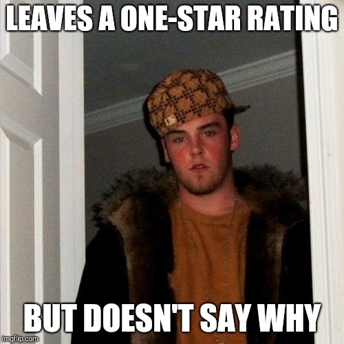 Scumbag Steve Meme | LEAVES A ONE-STAR RATING BUT DOESN'T SAY WHY | image tagged in memes,scumbag steve | made w/ Imgflip meme maker