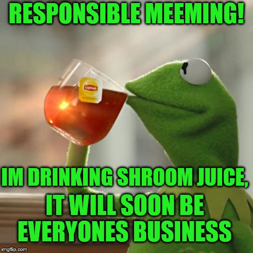 But Thats None Of My Business Meme | RESPONSIBLE MEEMING! IM DRINKING SHROOM JUICE, IT WILL SOON BE EVERYONES BUSINESS | image tagged in memes,but thats none of my business,kermit the frog | made w/ Imgflip meme maker