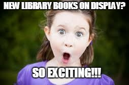 Excited girl |  NEW LIBRARY BOOKS ON DISPLAY? SO EXCITING!!! | image tagged in excited girl | made w/ Imgflip meme maker