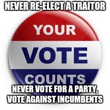 Vote | NEVER RE-ELECT A TRAITOR NEVER VOTE FOR A PARTY, VOTE AGAINST INCUMBENTS | image tagged in vote | made w/ Imgflip meme maker