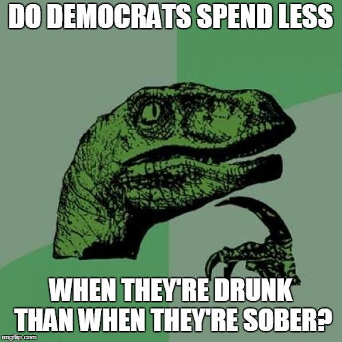 Philosoraptor Meme | DO DEMOCRATS SPEND LESS WHEN THEY'RE DRUNK THAN WHEN THEY'RE SOBER? | image tagged in memes,philosoraptor | made w/ Imgflip meme maker