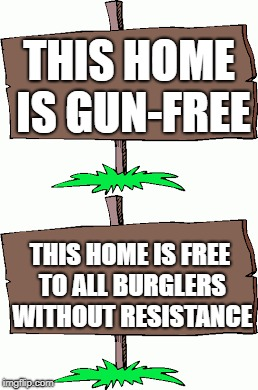 If you announce that your home is a gun-free zone, you might as well be welcoming intruders. | THIS HOME IS GUN-FREE THIS HOME IS FREE TO ALL BURGLERS WITHOUT RESISTANCE | image tagged in memes,gun free zone,burglar | made w/ Imgflip meme maker