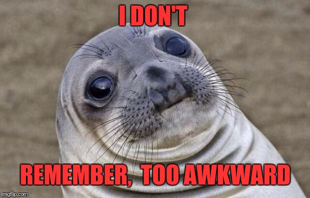 Awkward Moment Sealion Meme | I DON'T REMEMBER,  TOO AWKWARD | image tagged in memes,awkward moment sealion | made w/ Imgflip meme maker