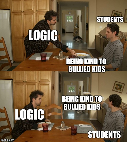 Plate toss | LOGIC BEING KIND TO BULLIED KIDS STUDENTS LOGIC BEING KIND TO BULLIED KIDS STUDENTS | image tagged in plate toss | made w/ Imgflip meme maker