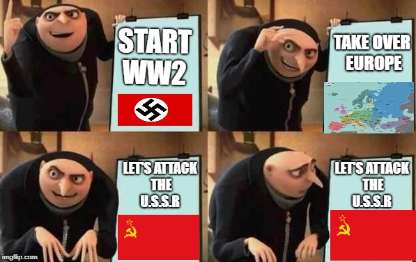 my first meme :) ww2 ;) | START WW2 TAKE OVER EUROPE LET'S ATTACK THE U.S.S.R LET'S ATTACK THE U.S.S.R | image tagged in gru's plan | made w/ Imgflip meme maker