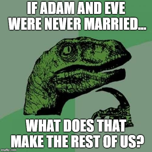 Philosoraptor Meme | IF ADAM AND EVE WERE NEVER MARRIED... WHAT DOES THAT MAKE THE REST OF US? | image tagged in memes,philosoraptor,adam and eve,biblical | made w/ Imgflip meme maker