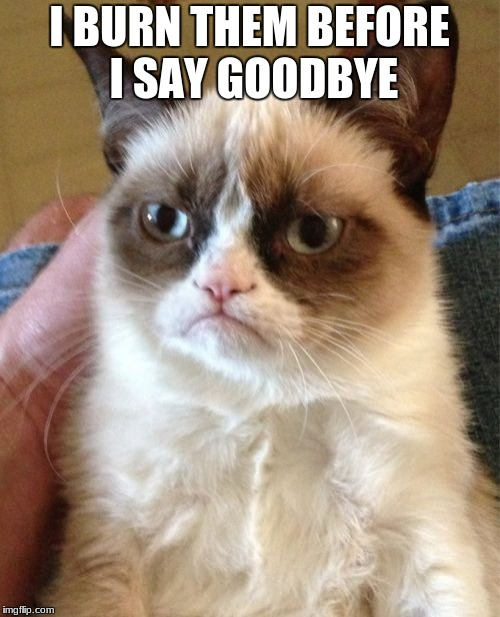 Grumpy Cat Meme | I BURN THEM BEFORE I SAY GOODBYE | image tagged in memes,grumpy cat | made w/ Imgflip meme maker