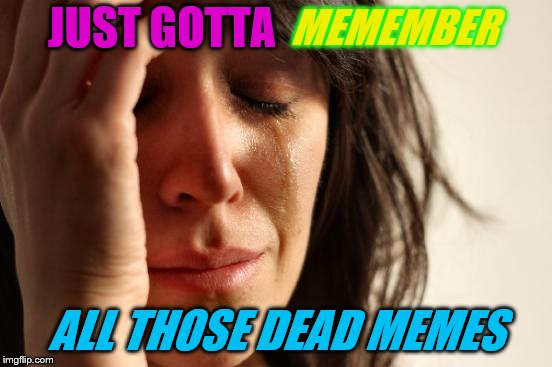 First World Problems Meme | JUST GOTTA ALL THOSE DEAD MEMES MEMEMBER | image tagged in memes,first world problems | made w/ Imgflip meme maker