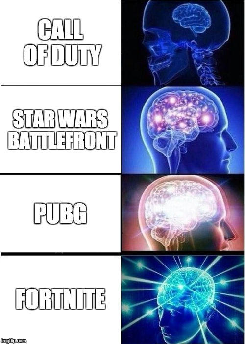 Expanding Brain Meme | CALL OF DUTY STAR WARS BATTLEFRONT PUBG FORTNITE | image tagged in memes,expanding brain | made w/ Imgflip meme maker
