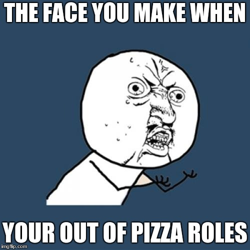 Y U No Meme | THE FACE YOU MAKE WHEN YOUR OUT OF PIZZA ROLES | image tagged in memes,y u no | made w/ Imgflip meme maker