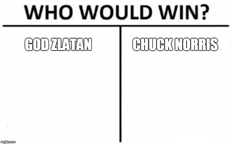 Who Would Win? Meme | GOD ZLATAN CHUCK NORRIS | image tagged in memes,who would win | made w/ Imgflip meme maker