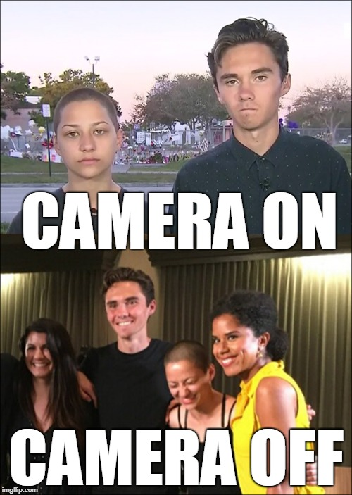 Hypocrites | CAMERA ON CAMERA OFF | image tagged in david hogg,parkland,liberal hypocrisy,liberals,gun control | made w/ Imgflip meme maker