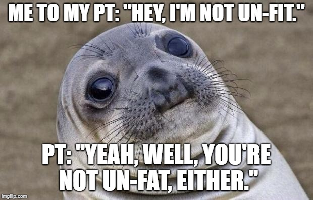"Awkward Moment Sealion Meme | ME TO MY PT: ""HEY, I'M NOT UN-FIT."" PT: ""YEAH, WELL, YOU'RE NOT UN-FAT, EITHER."" 