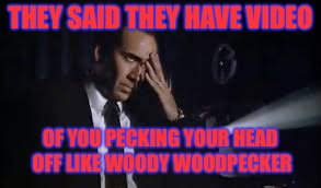THEY SAID THEY HAVE VIDEO OF YOU PECKING YOUR HEAD OFF LIKE WOODY WOODPECKER | made w/ Imgflip meme maker