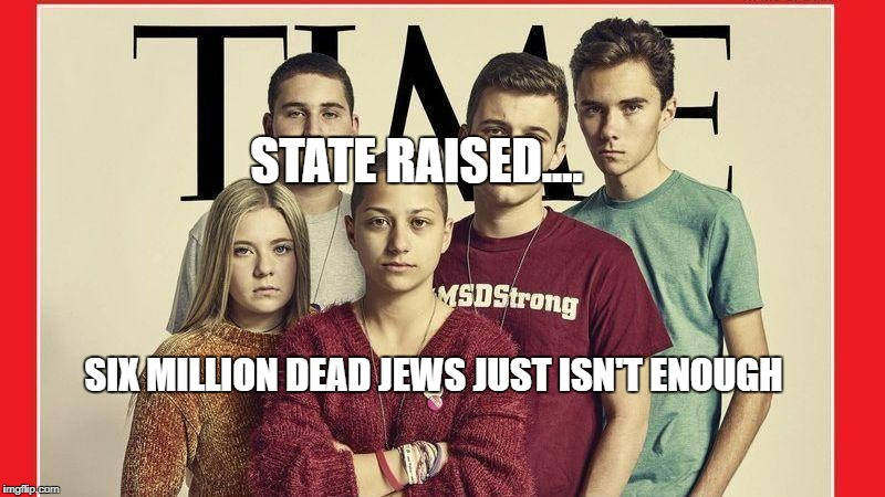 STATE RAISED.... SIX MILLION DEAD JEWS JUST ISN'T ENOUGH | image tagged in parkland students anti gun | made w/ Imgflip meme maker