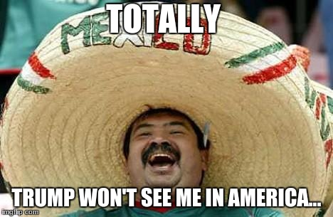 BEST PLAN#2 | TOTALLY TRUMP WON'T SEE ME IN AMERICA... | image tagged in mexico | made w/ Imgflip meme maker