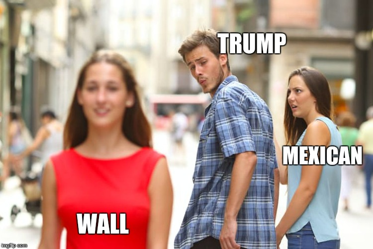 Distracted Boyfriend Meme | WALL TRUMP MEXICAN | image tagged in memes,distracted boyfriend | made w/ Imgflip meme maker